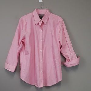 Lauren Pink & White Striped Button Up Top